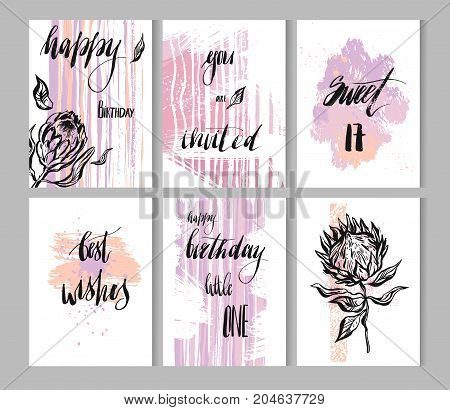 Hand drawn vector painted abstract textured Happy Birthday modern cards template collection with protea flowers and handwritten ink lettering phases in violet and purple colors isolated on white.