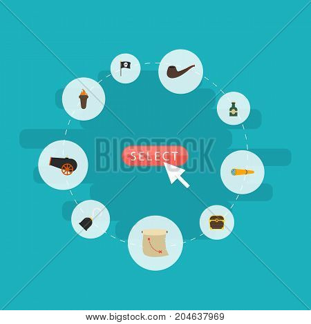 Flat Icons Tobacco, Banner, Artillery And Other Vector Elements