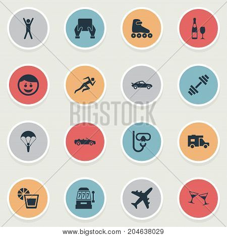 Elements Car, Plane, Champagne And Other Synonyms Happy, Van And Vacation.  Vector Illustration Set Of Simple Health Icons.