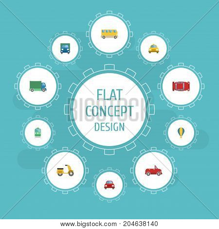 Flat Icons Cab, Lorry, Automobile And Other Vector Elements