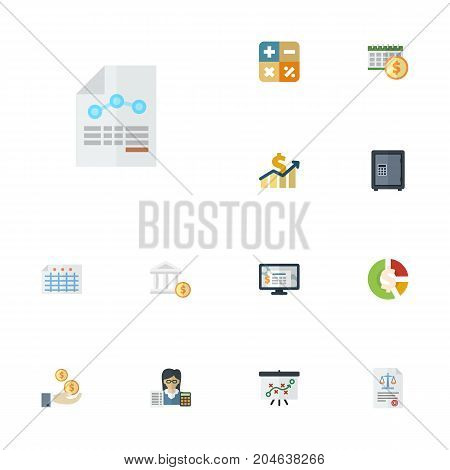 Flat Icons Sheet, Accounting System, Bank And Other Vector Elements