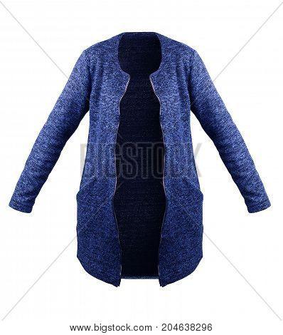 Elegant blue wool coat isolated over white
