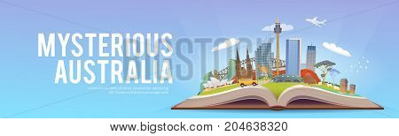 Travel to Australia. Road trip. Tourism. Open book with landmarks. Australia Travel Guide. Advertising web illustration. Summer vacation. Travelling banner. Modern flat design. 2