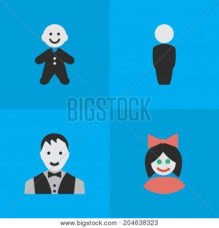 Elements Guy, Person, Girl And Other Synonyms Man, Guy And Female.  Vector Illustration Set Of Simple Profile Icons.