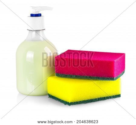 Sponges and liquid soap for washing dishes isolated on white background