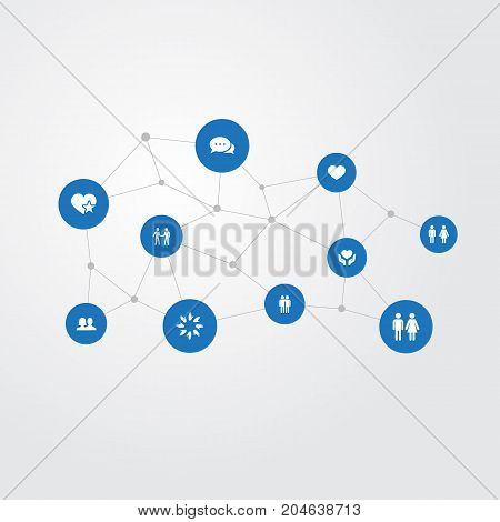 Elements Talk, Couple, Partner And Other Synonyms Companion, Care And Star.  Vector Illustration Set Of Simple Fellows Icons.