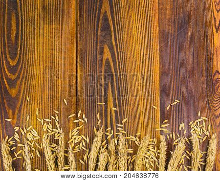 Wheat ears on an old wooden background with copyspace