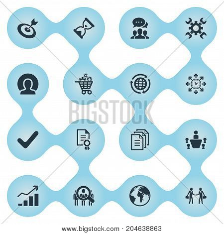 Elements Timing, Cooperation, Headhunting And Other Synonyms Business, Management And Hourglass.  Vector Illustration Set Of Simple Plan Icons.
