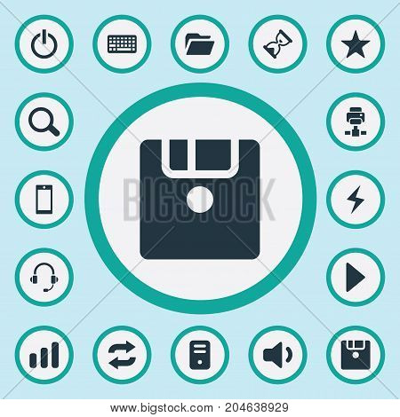 Elements Begin, Keypad, Hourglass And Other Synonyms Headphone, Power And Magnifier.  Vector Illustration Set Of Simple Technology Icons.