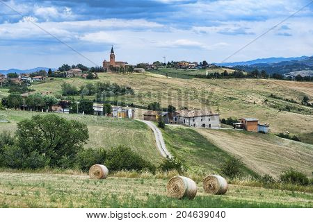 Summer landscape along the road from Serramazzoni to Marano sul Panaro (Modena Emilia Romagna Italy) at summer