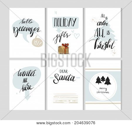 Hand made vector abstract Merry Christmas simple decoration cards set design with modern rough holiday calligraphy phases and quotes isolated on white background.Happy New Year concept.