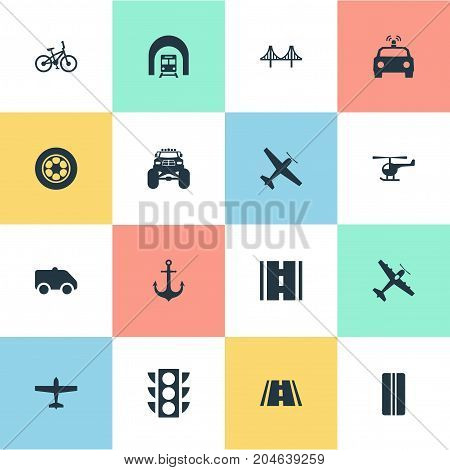 Elements Race, Road, Highway And Other Synonyms Race, Van And Ship.  Vector Illustration Set Of Simple Transport Icons.