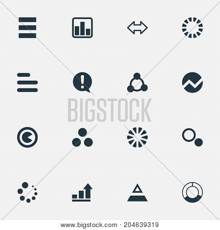 Elements Pie Bar, Test, Contour And Other Synonyms Segmentation, Information And Piece.  Vector Illustration Set Of Simple Diagram Icons.