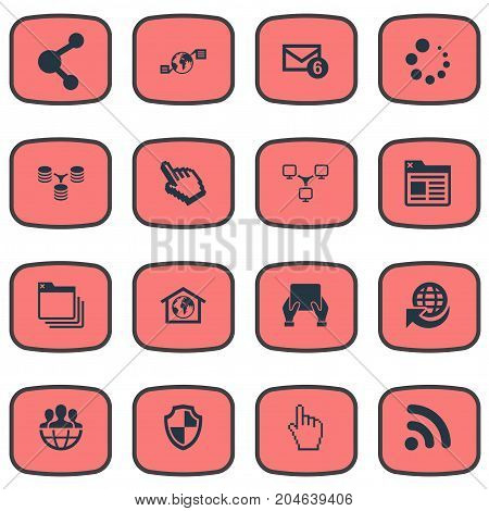 Elements Folder, Defense, Device And Other Synonyms Smartphone, Database And Earth.  Vector Illustration Set Of Simple Web Icons.