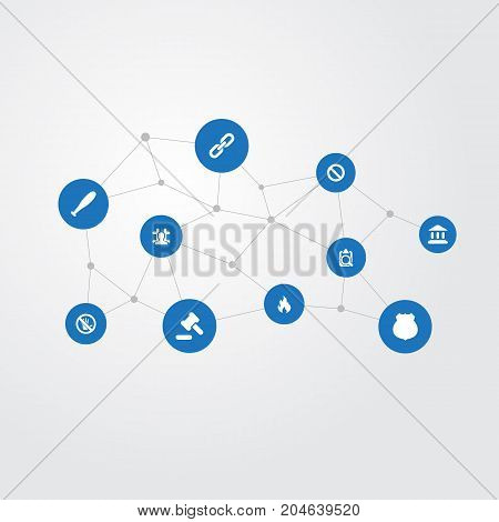 Elements Baseball Bat, Stop, Emblem And Other Synonyms Fire, Stick And Emblem.  Vector Illustration Set Of Simple Fault Icons.
