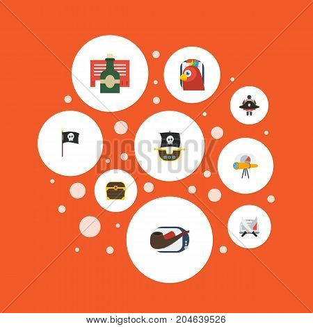 Flat Icons Bottle, Telescope, Macaw And Other Vector Elements