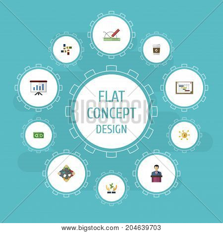 Flat Icons Support, Discussion, Design And Other Vector Elements