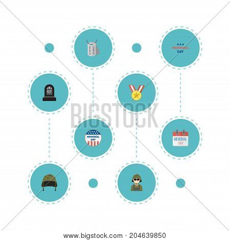 Flat Icons Tomb, Identity, Usa Badge And Other Vector Elements