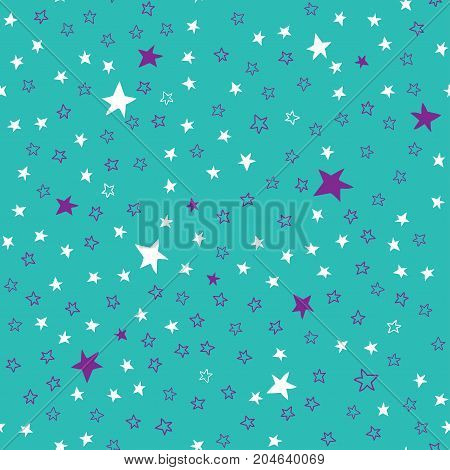 Turquoise seamless pattern with stars. White and purple stars hand-painted on a turquoise background. Suitable for fabrics, Wallpaper, and any design.