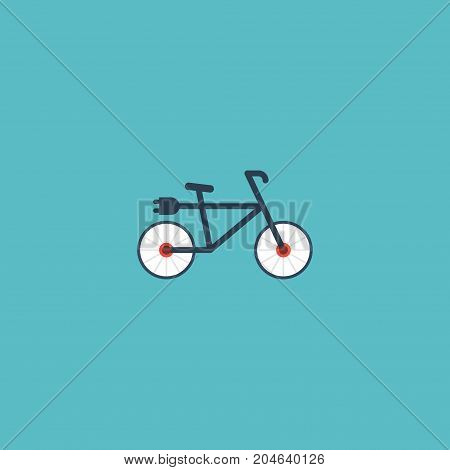 Flat Icon Electric Bike Element. Vector Illustration Of Flat Icon Bicycle Isolated On Clean Background