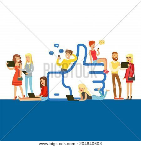 Young people standing and sitting near giant Like symbol, man and woman using mobile gadgets for social networking or blogging colorful vector Illustration