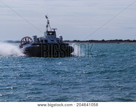 A Hovercraft coming in to dock at Portsmouth