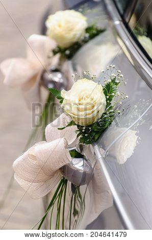 Detail On A Wedding Car Decoration