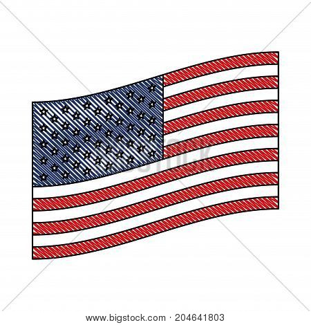 flag united states of america flat design to side in colored crayon silhouette vector illustration