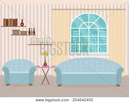 Interior design in flat style of living room with furniture sofa table bookshelf flower armchair and window. Vector illustration.
