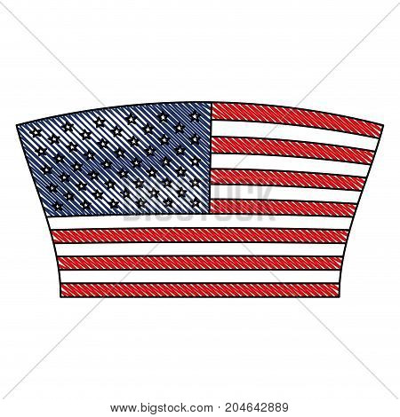 flag united states of america geometric design in colored crayon silhouette vector illustration