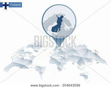 Abstract Rounded World Map With Pinned Detailed Finland Map.