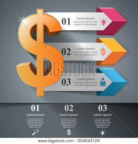 Business Infographics origami style Vector illustration. Dollar icon. Money icon.