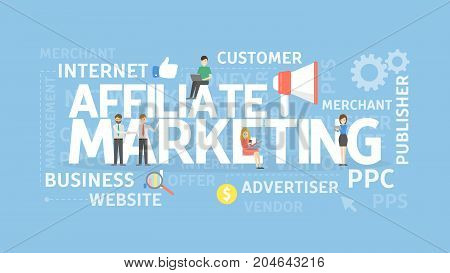 Affiliate marketing concept illustration. Idea of internet, PPC and business.