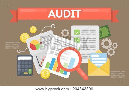 Audit concept illustration. Documents and calculator with money and magnifying glass on the table.