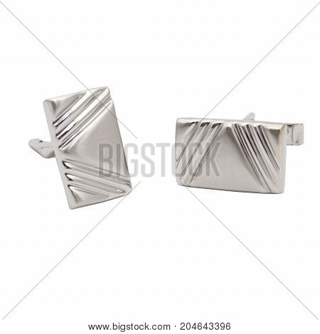 Masculine accessorie - Cufflinks made from white gold isolated on white background