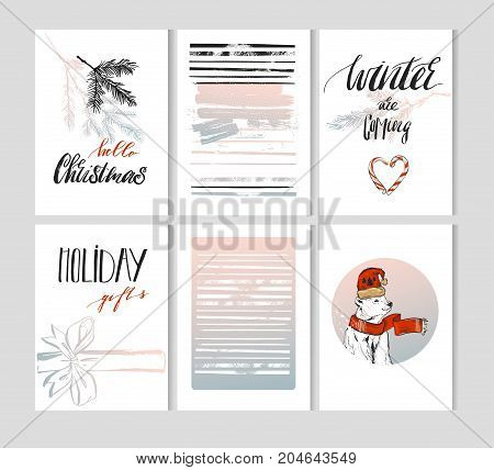 Hand made vector Merry Christmas greeting cards set with cute xmas polar bear in winter clothing and planner journaling lists with modern Christmas calligraphy quotes in pastel colors.Business cards