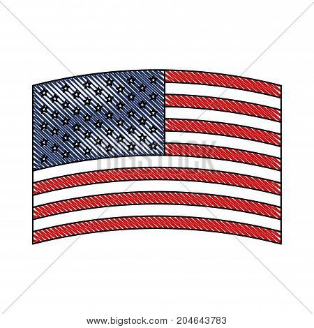 flag united states of america wave in design in colored crayon silhouette vector illustration