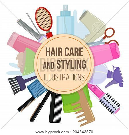 Set of colorful equipments for styling and hair care. Products and tools for home remedies of hair care. Vector