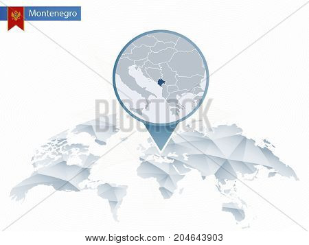 Abstract Rounded World Map With Pinned Detailed Montenegro Map.