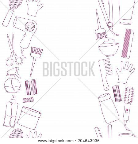 Seamless vertical borders of line equipments for styling and hair care. Products and tools for home remedies of hair care. Vector