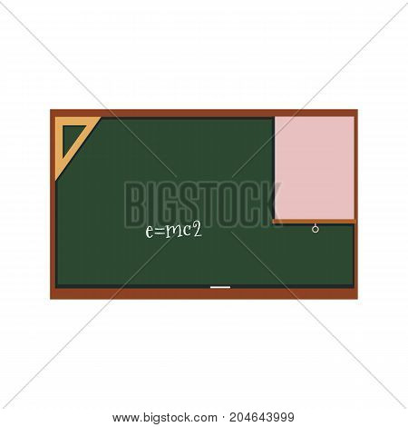vector flat cartoon green blackboard with triangle protractor , paper and written by chalk energy formula. Isolated illustration on a white background. Back to school concept