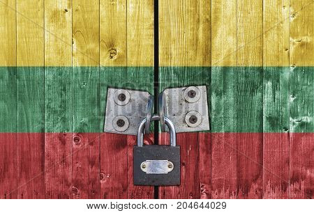 Lithuania flag on door with padlock close