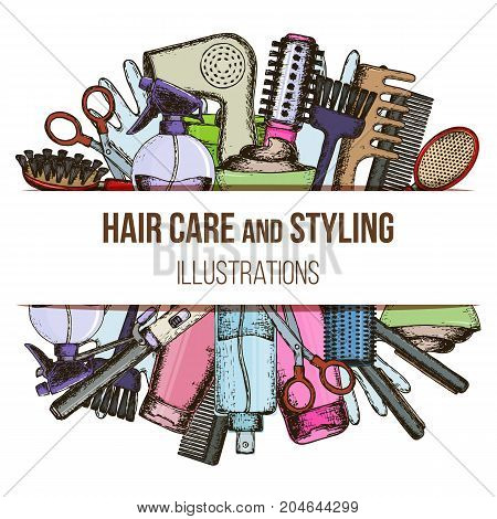 Set of colorful sketch equipments for styling and hair care. Products and tools for home remedies of hair care. Vector