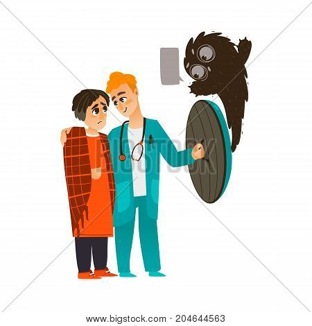 vector flat cartoon male doctor holding shield protecting male patient in warm pullover from mental illness - anxiety fear or phobia. Isolated illustration on a white background