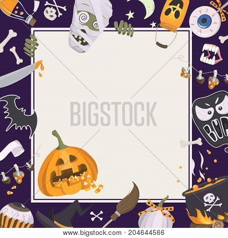 Vector background with halloween icons and square frame. Trick or Treat Concept. Cheerful template with traditional elements for halloween: pumpkin with a treat witch hat cauldron skull and crossbones and etc.