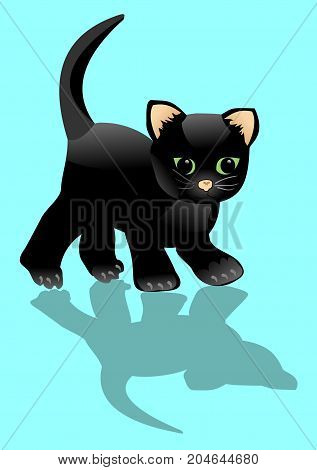Black kitten looks at his shadow. Little surprised cat on lighta blue background. Halloween illustration cartoon. Vector EPS 10
