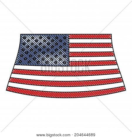flag united states of america colored crayon silhouette vector illustration