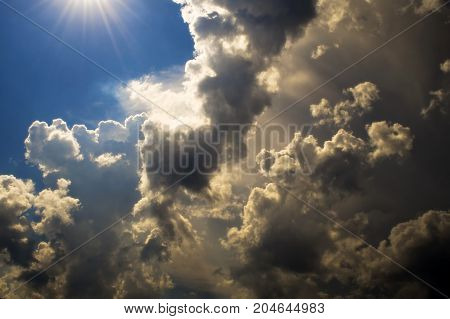 The sun overcomes the clouds. Weather changes