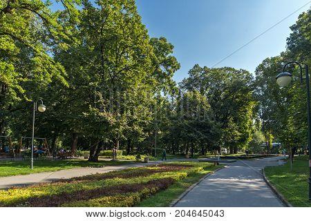 PLOVDIV, BULGARIA - SEPTEMBER 1, 2017:  Panorama of Tsar Simeon Garden in City of Plovdiv, Bulgaria