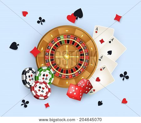 Casino banner, poster design with roulette wheel, chips, tokens, playing cards, dices and suits, vector illustration. Casino, gambling chips roulette cards and golden coins, banner, poster design